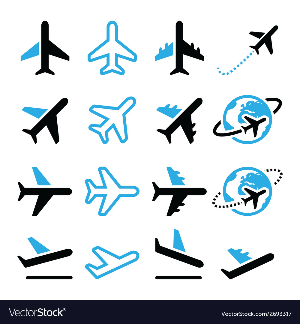 Plane flight airport black and blue icons set vector | Price: 1 Credit (USD $1)