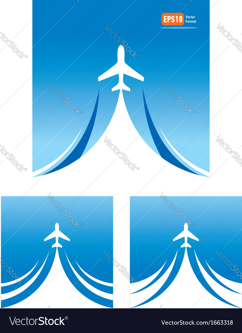 Airplane flight travel air fly cloud sky blue vector | Price: 1 Credit (USD $1)