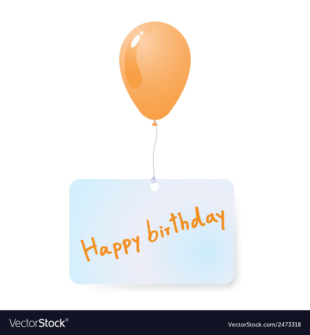 Balloon with happy birthday tag vector | Price: 1 Credit (USD $1)