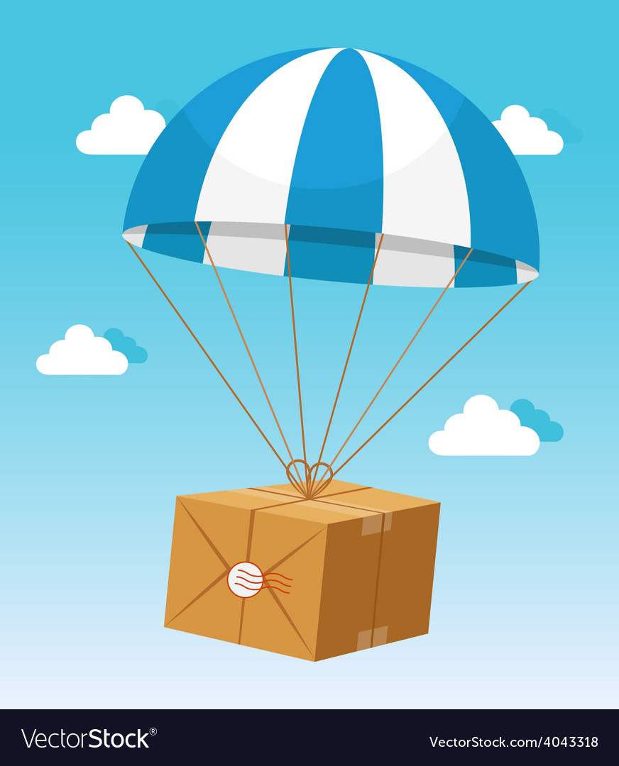 Blue and white parachute holding delivery box vector | Price: 1 Credit (USD $1)