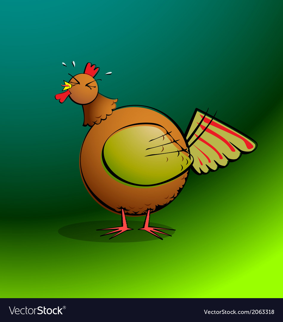 Chickensrround rooster crowing vector | Price: 1 Credit (USD $1)