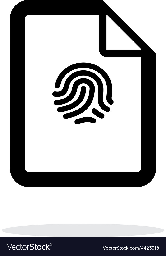 Fingerprint on file icon on white background vector | Price: 1 Credit (USD $1)