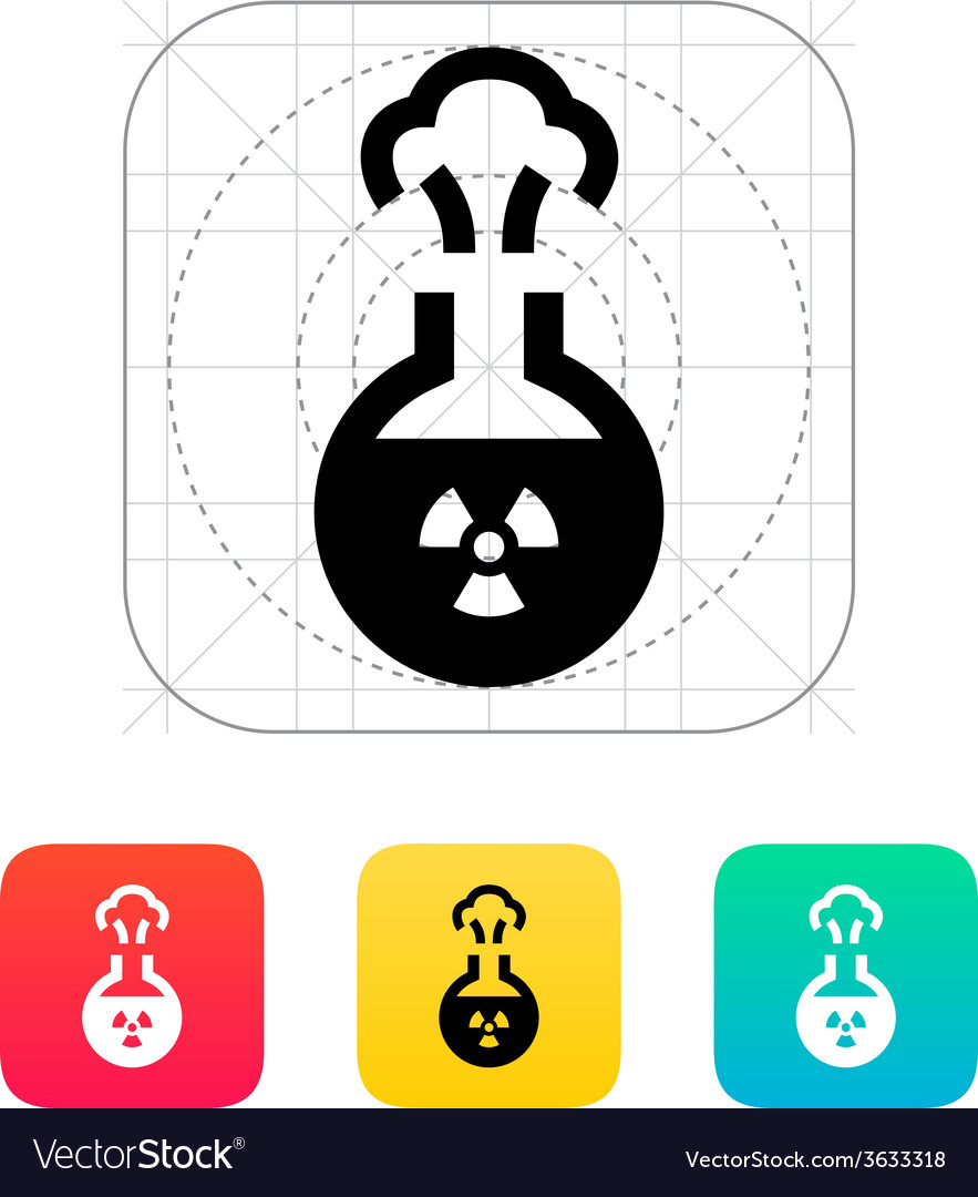 Florence flask with radiation icon vector   Price: 1 Credit (USD $1)