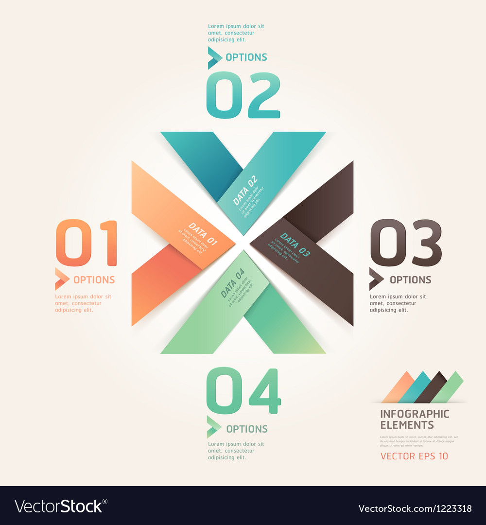 Modern arrow origami options banner vector | Price: 1 Credit (USD $1)