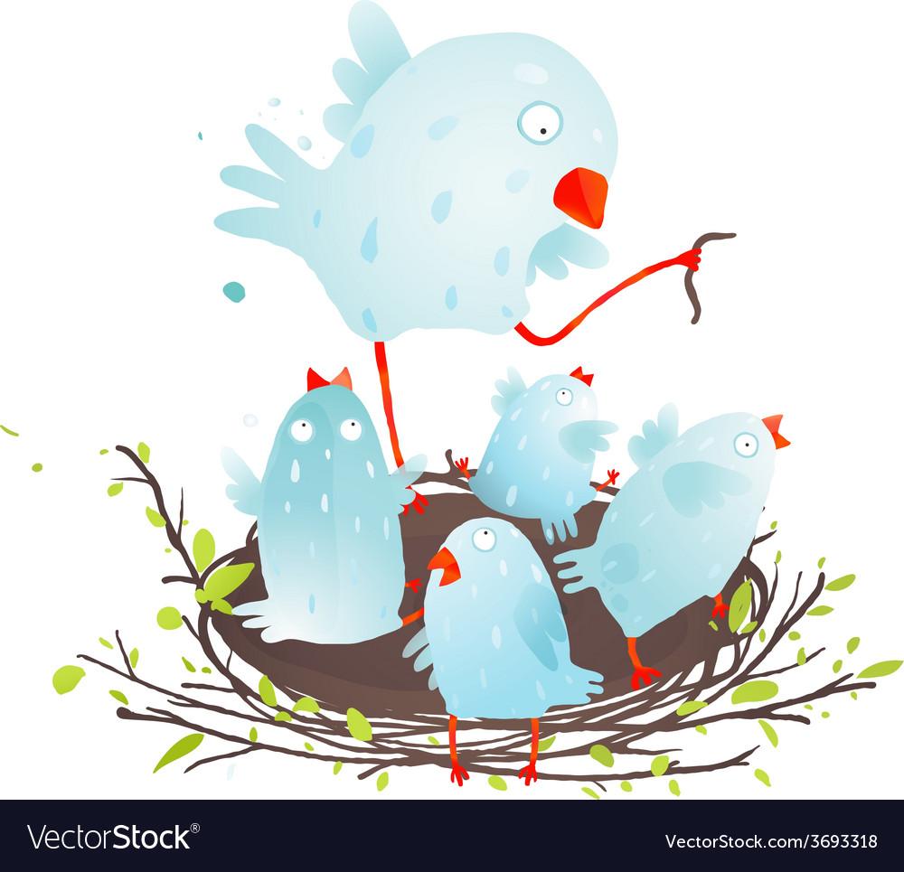 Mother bird in nest feeding her babies vector | Price: 1 Credit (USD $1)