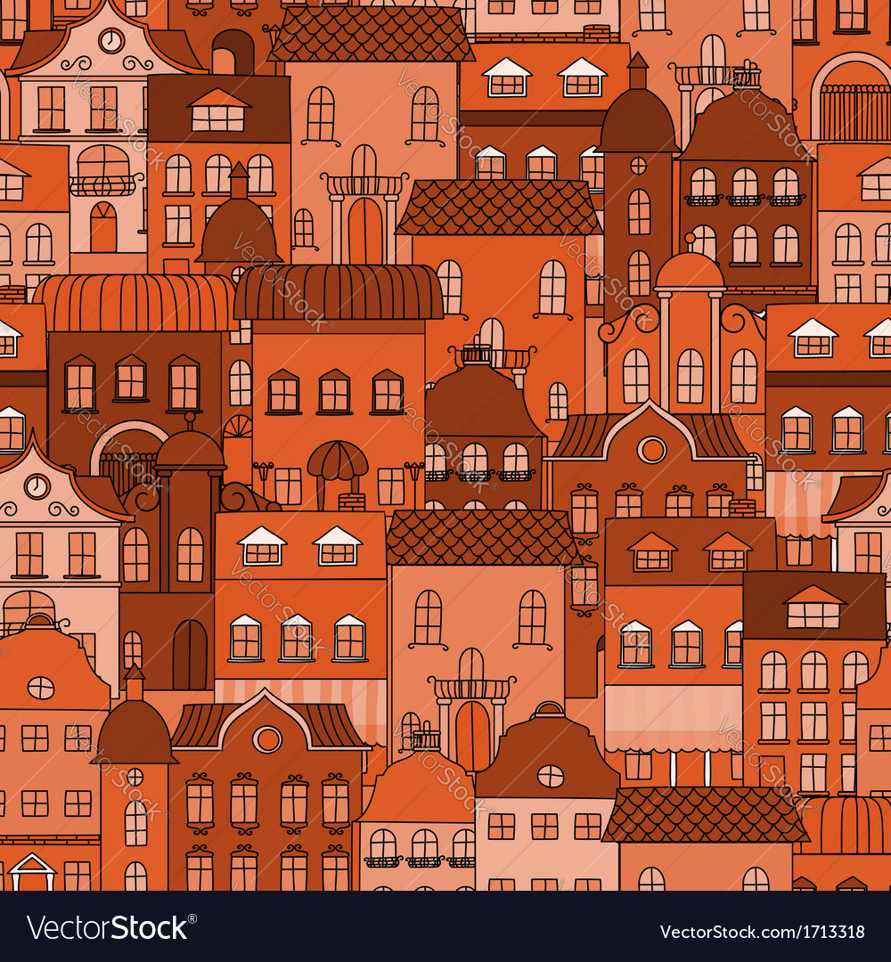 Seamless pattern with old town vector | Price: 1 Credit (USD $1)