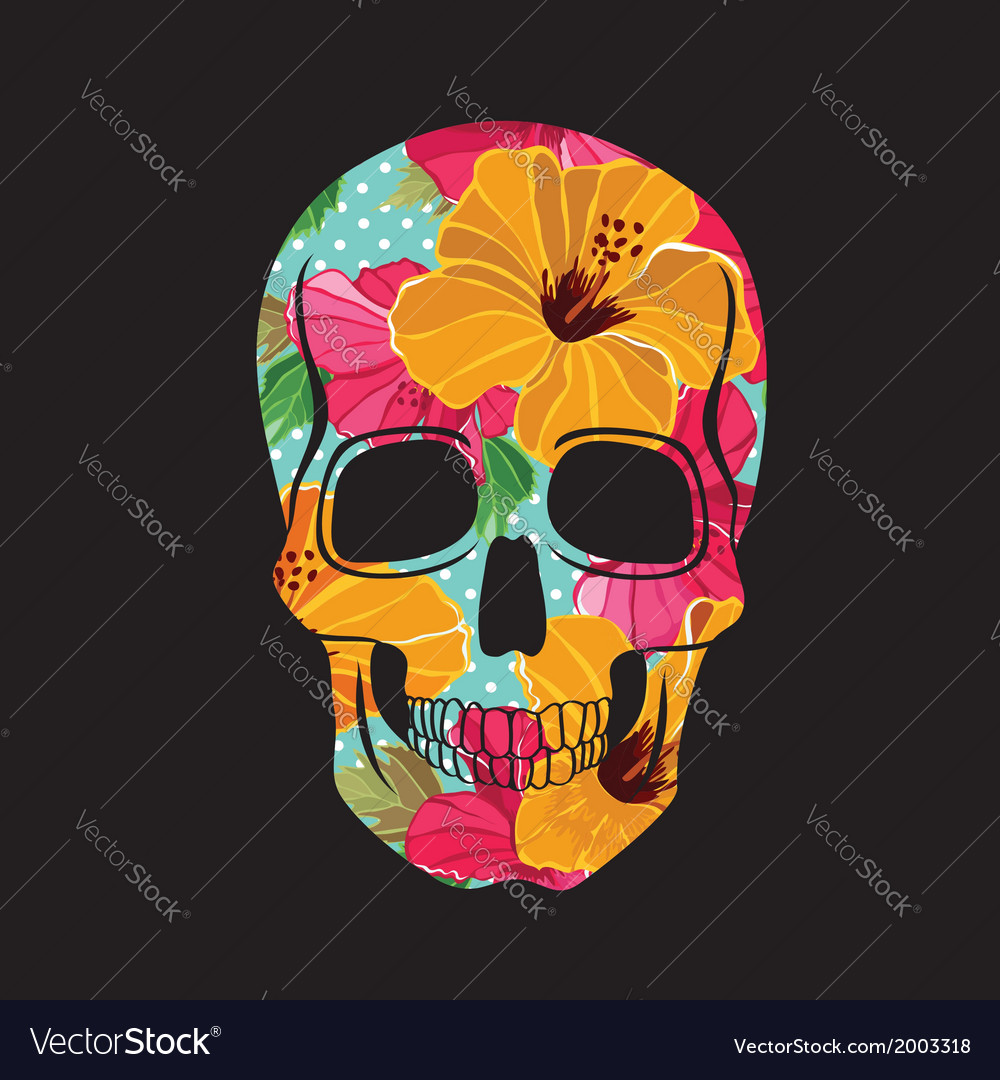 Skull with floral ornament vector | Price: 1 Credit (USD $1)