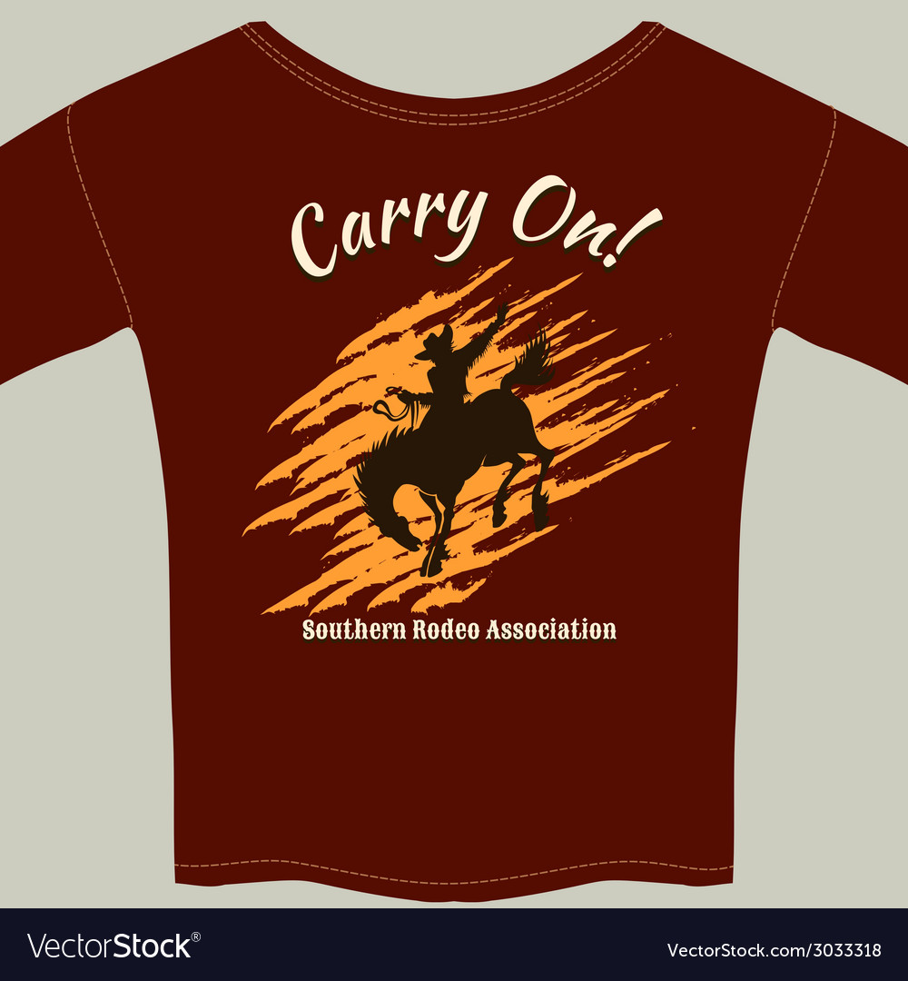 Tee shirt with cowboy riding horse rodeo graphic vector | Price: 1 Credit (USD $1)
