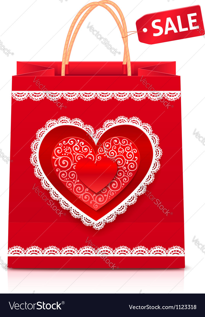 Valentines day red paper shopping bag vector | Price: 1 Credit (USD $1)
