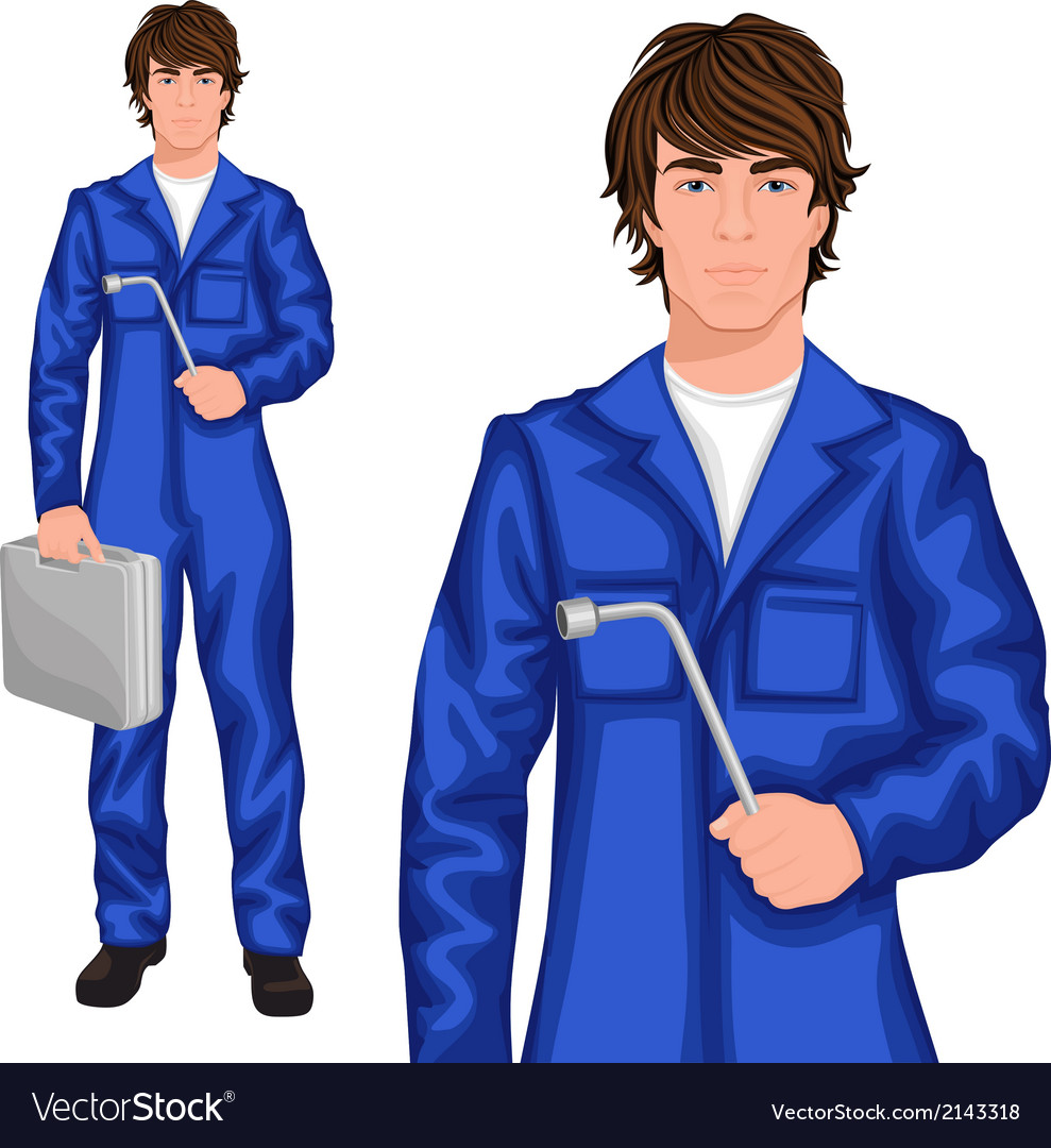 Young man mechanic vector | Price: 1 Credit (USD $1)
