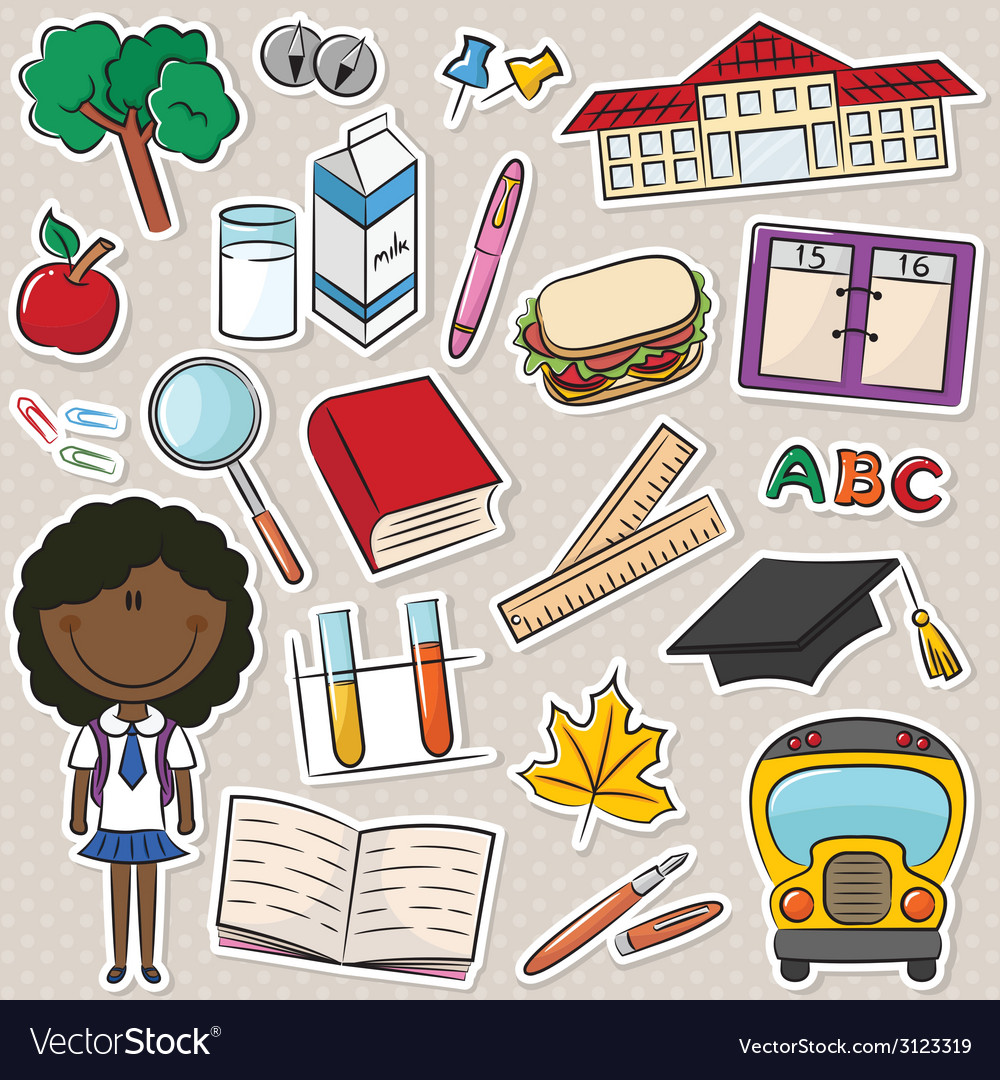 African-american school girls vector   Price: 1 Credit (USD $1)