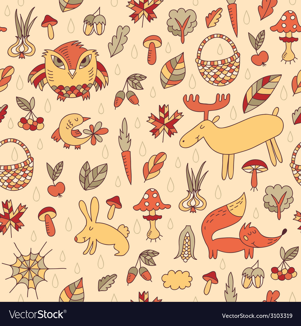 Autumn seamless pattern vector | Price: 1 Credit (USD $1)