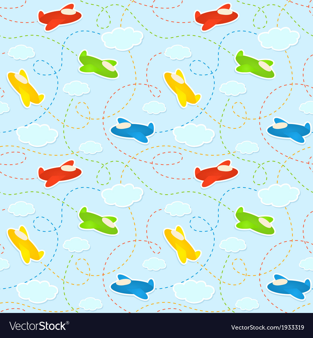 Blue seamless pattern with clouds and airplanes vector | Price: 1 Credit (USD $1)