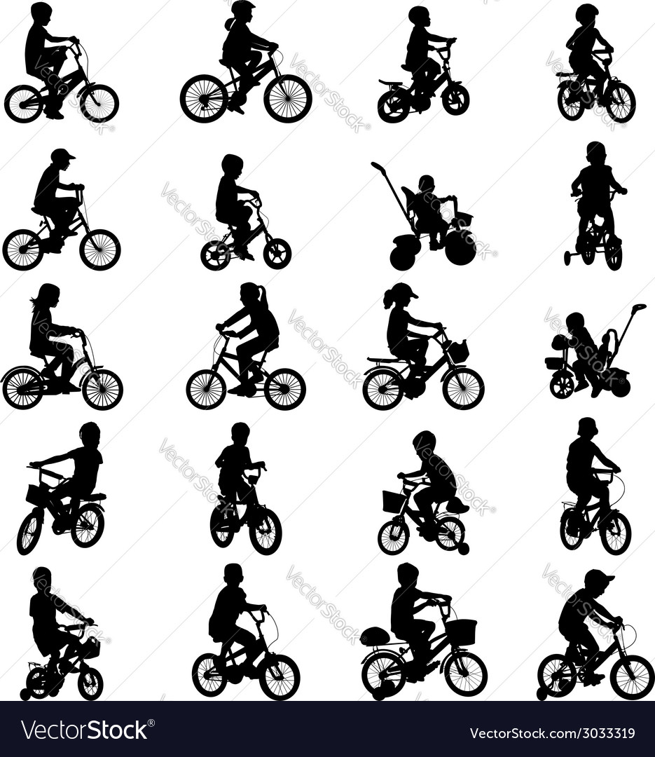 Children riding bicycles vector | Price: 1 Credit (USD $1)