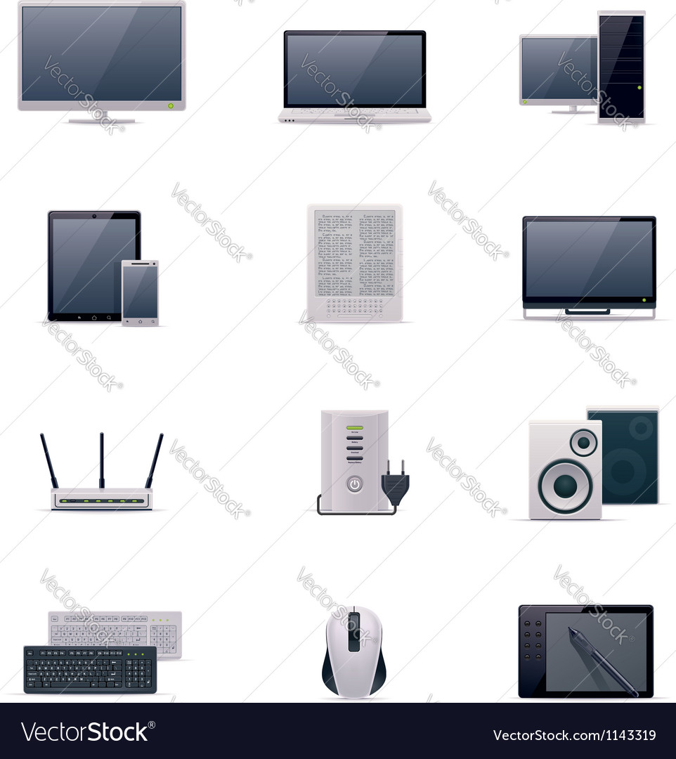 Computer icon set vector | Price: 5 Credit (USD $5)
