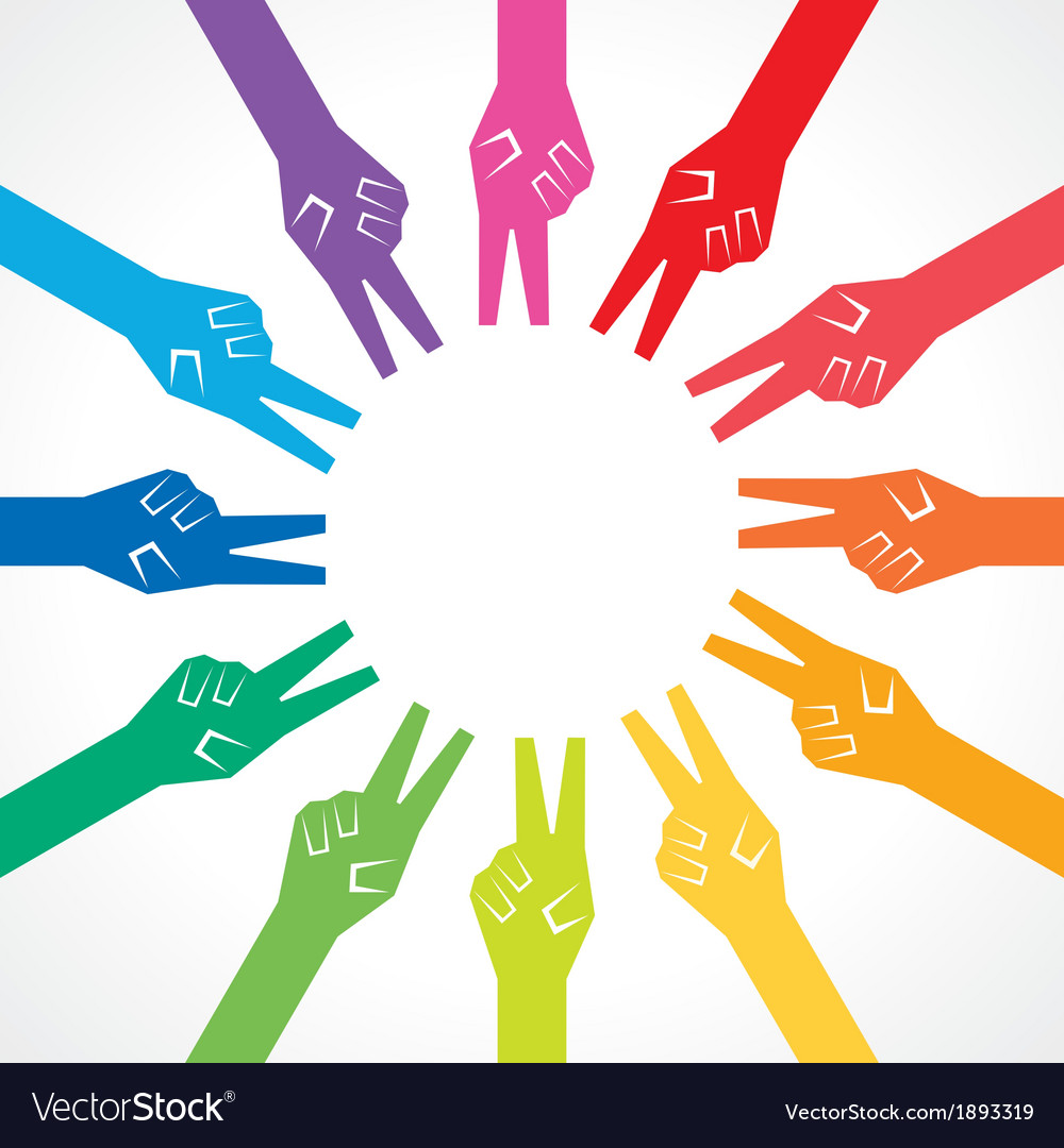 Creative colorful victory hand background vector   Price: 1 Credit (USD $1)