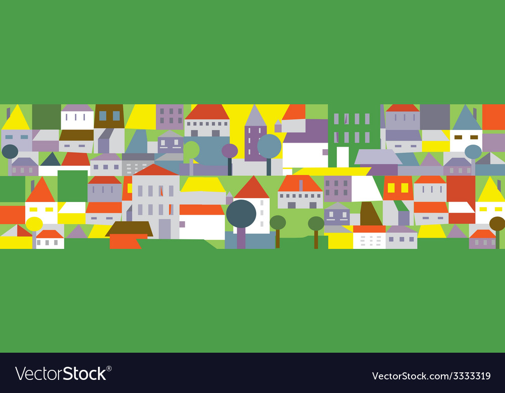 Funny town in summer - seamless background vector | Price: 1 Credit (USD $1)