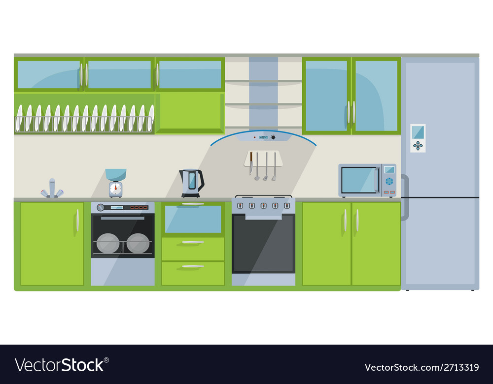 Green kitchen on a white background vector | Price: 1 Credit (USD $1)