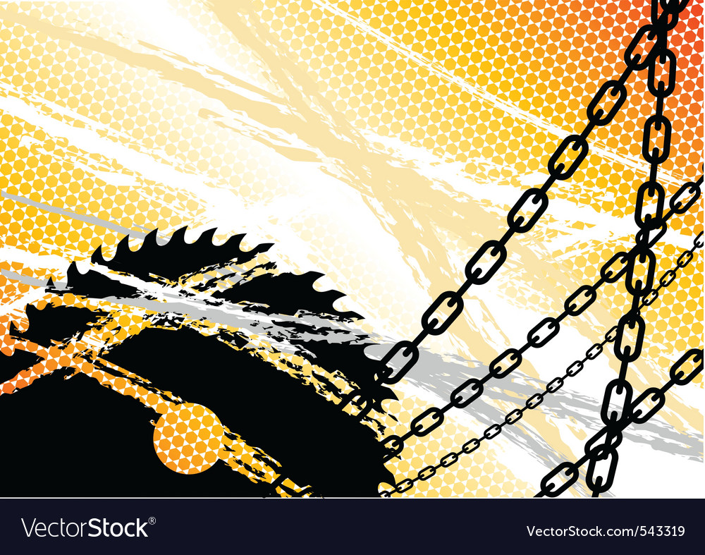 Industrial background with chain and saw vector | Price: 1 Credit (USD $1)