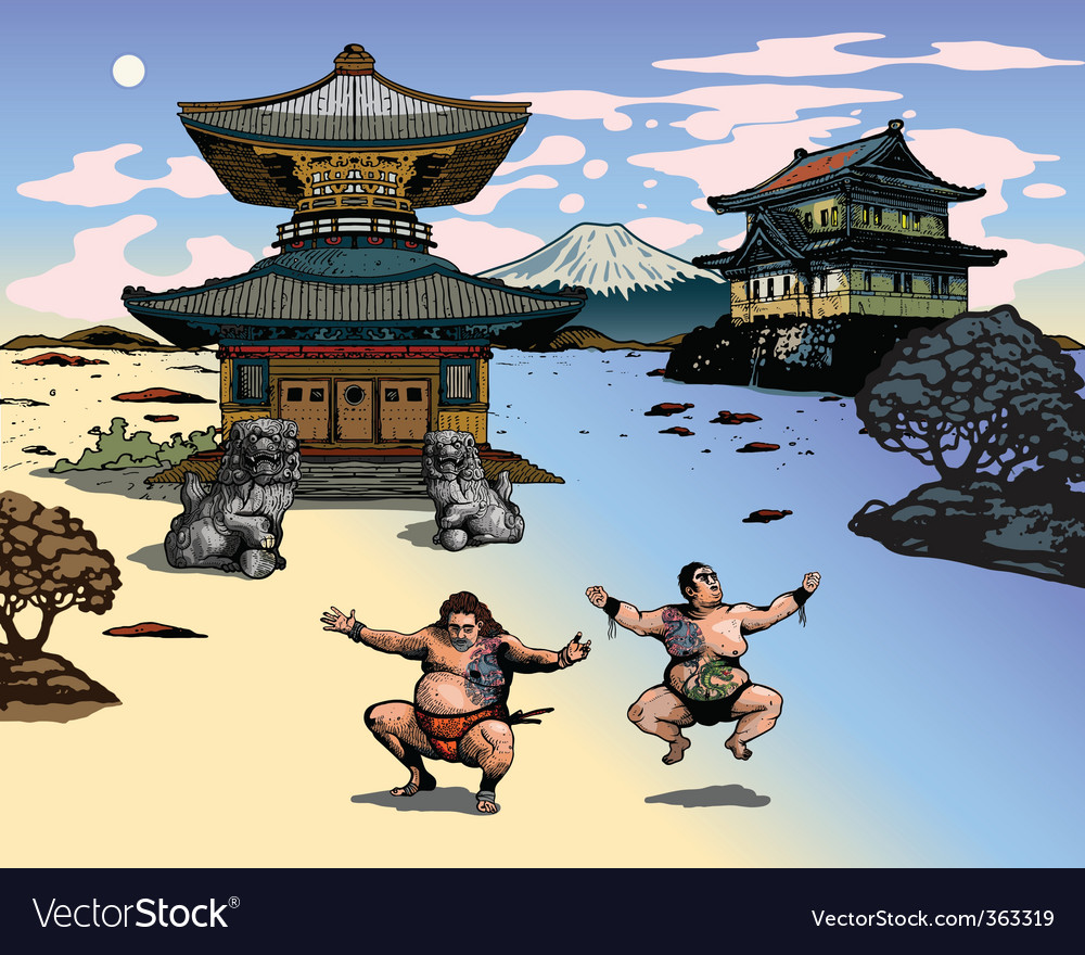 Japanese landscape vector | Price: 5 Credit (USD $5)