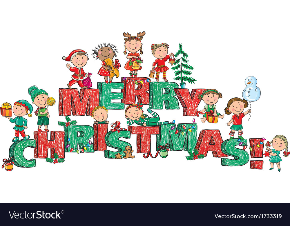 Merry christmas kids on letters vector | Price: 1 Credit (USD $1)