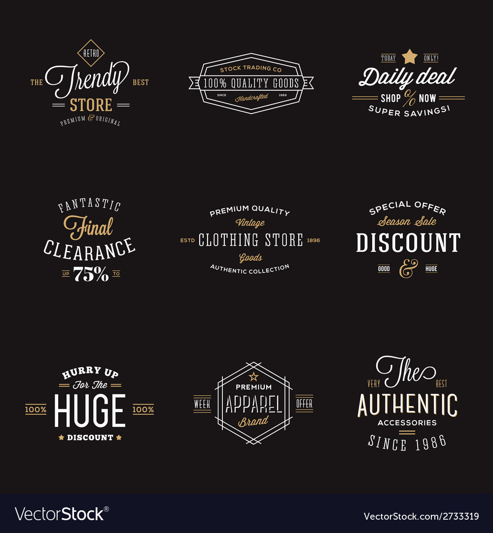 Retro typography abstract discount and sale label vector | Price: 1 Credit (USD $1)