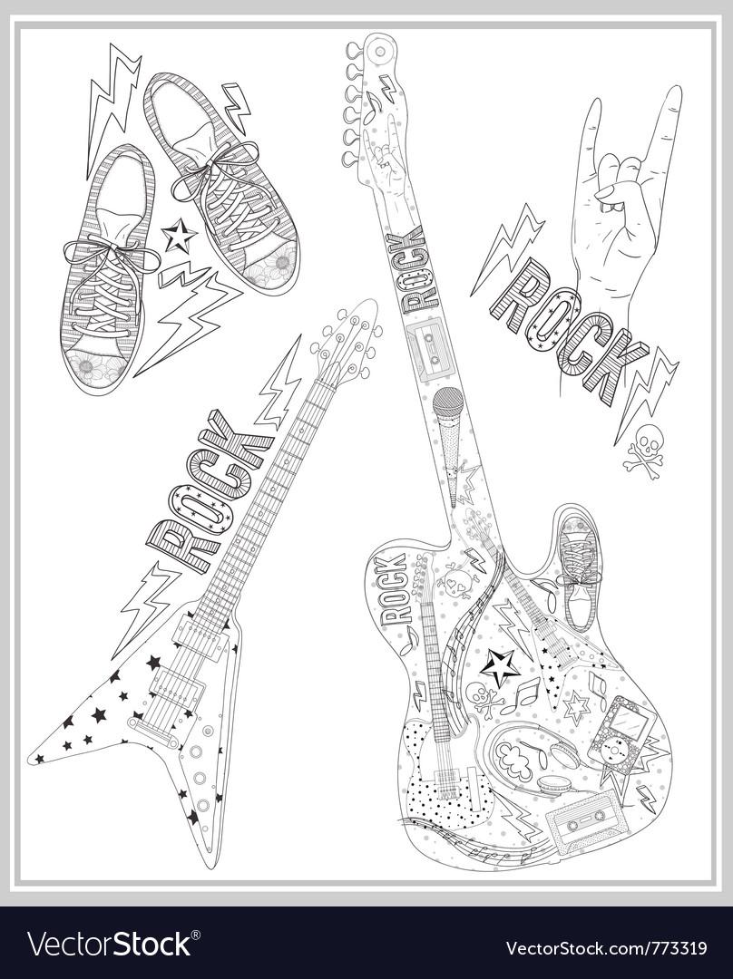 Rock music design elements set vector | Price: 3 Credit (USD $3)