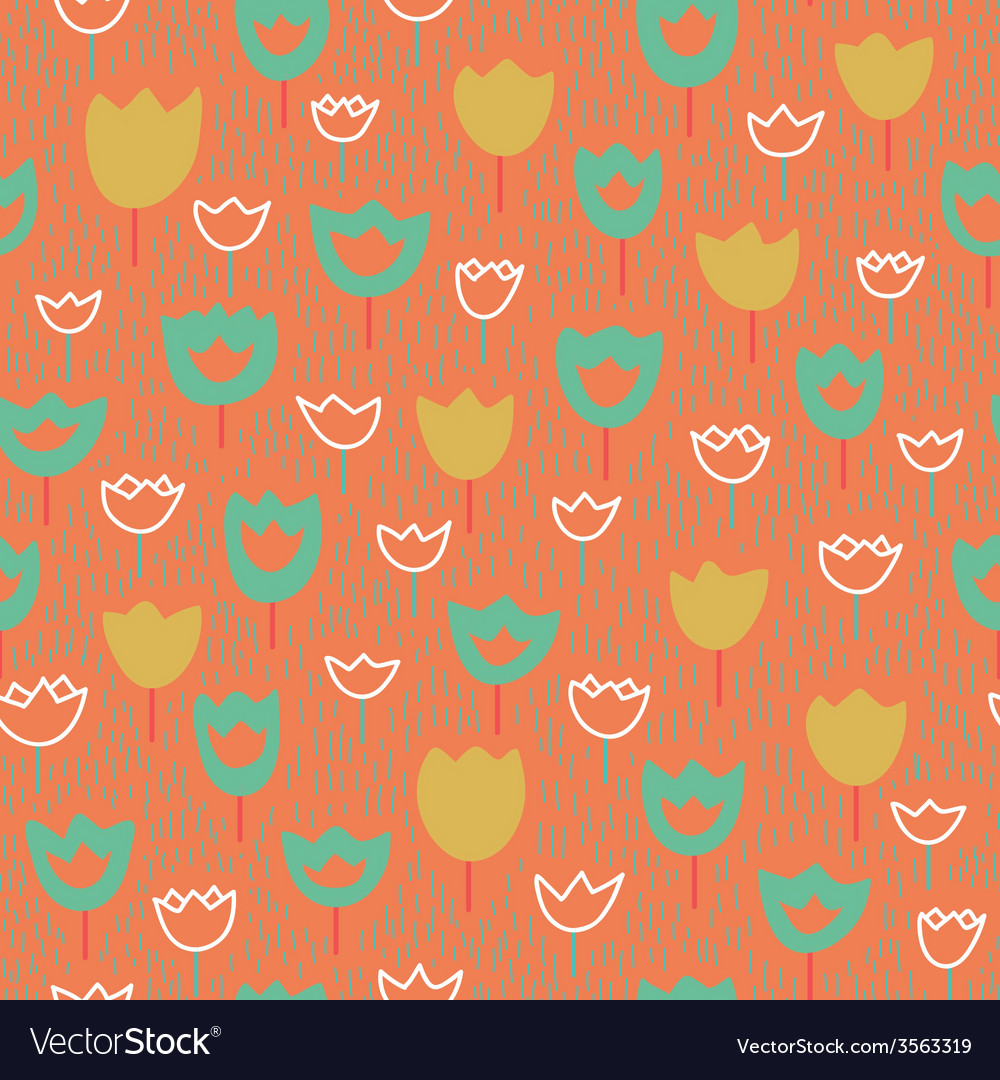 Seamless pattern with tulips and grass pastel vector | Price: 1 Credit (USD $1)
