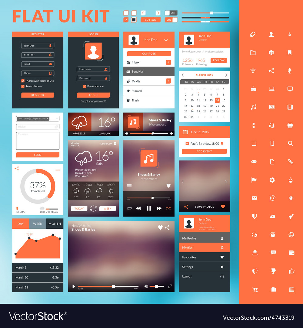 Set of flat design ui elements for website and vector | Price: 1 Credit (USD $1)