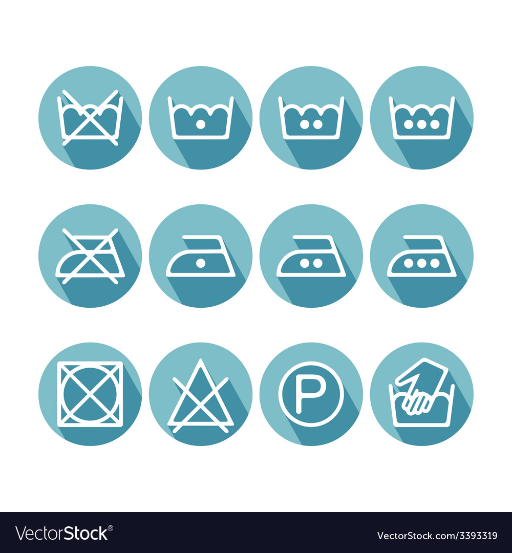 Set of flat instruction laundry icons washing vector | Price: 1 Credit (USD $1)