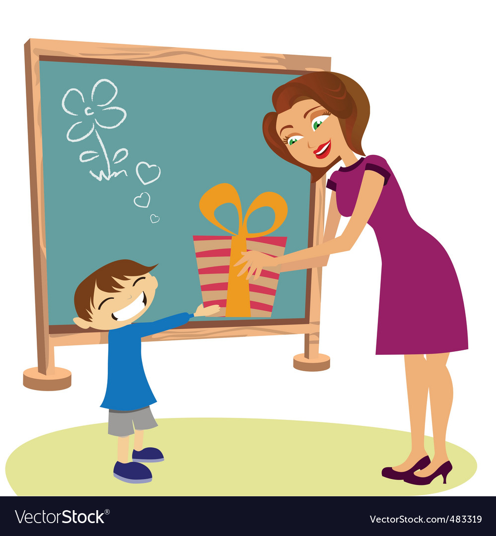 Student giving gift vector | Price: 3 Credit (USD $3)