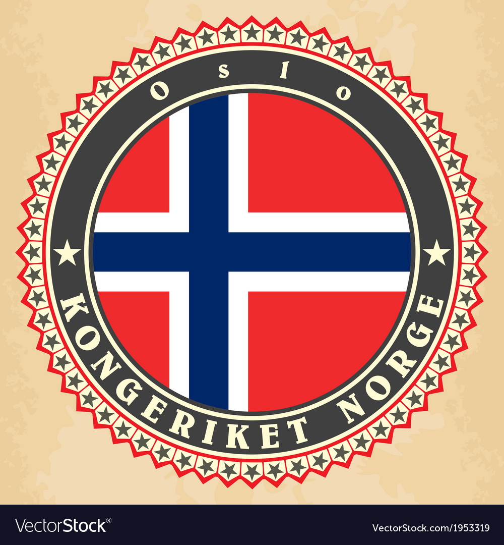 Vintage label cards of norway flag vector   Price: 1 Credit (USD $1)