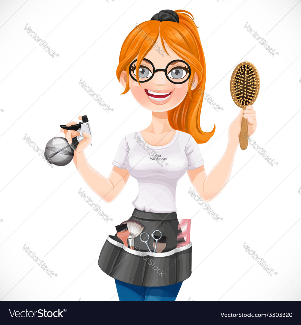 Cute redhead girl hairdresser with spray and vector | Price: 3 Credit (USD $3)