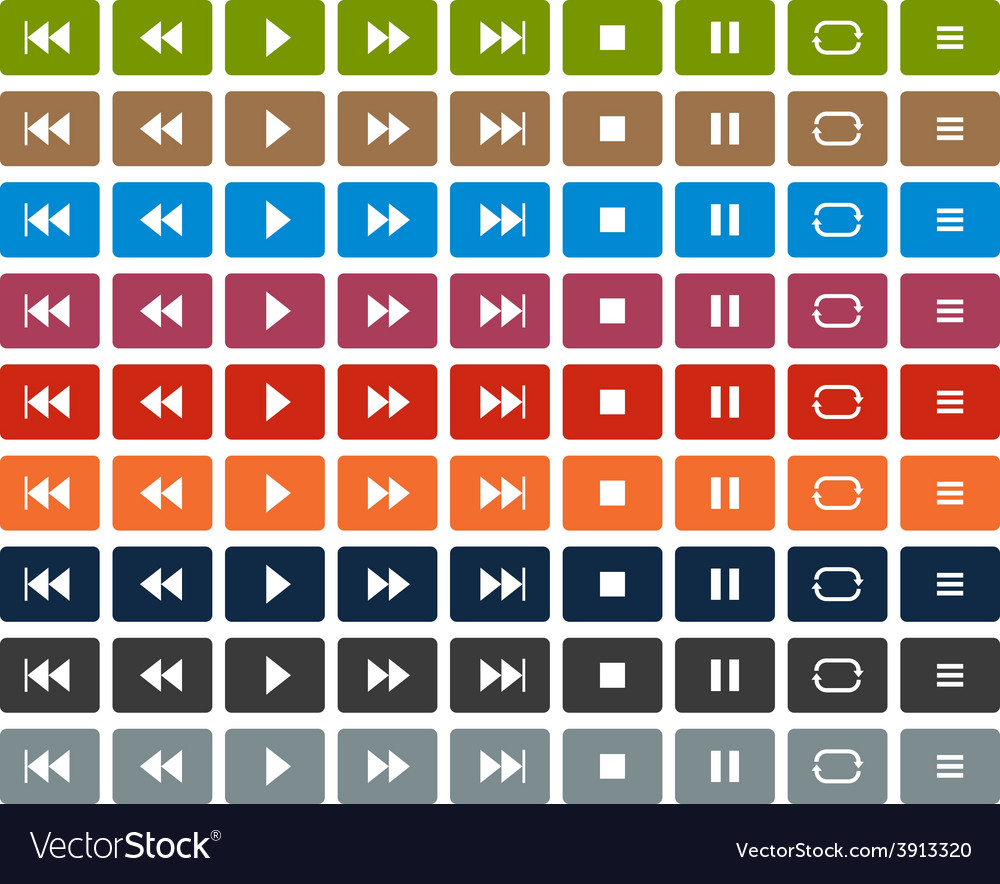 Flat player icons vector | Price: 1 Credit (USD $1)