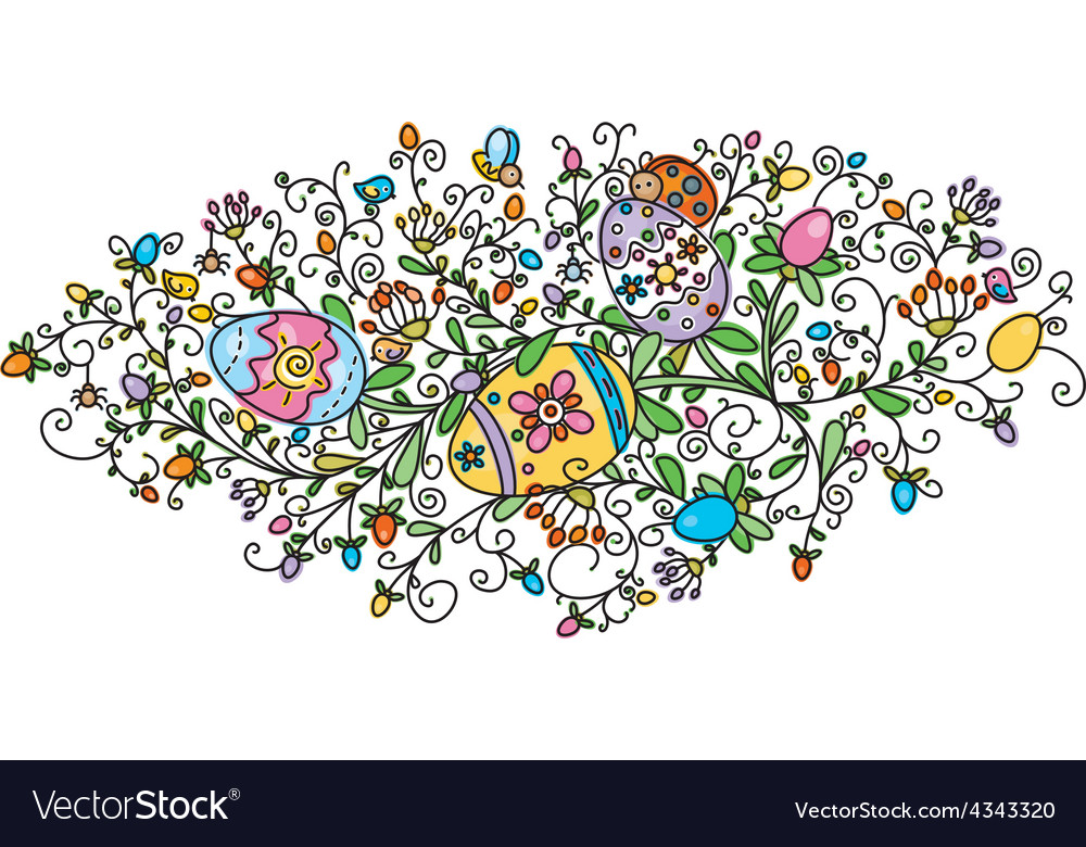 Floral easter vector | Price: 1 Credit (USD $1)