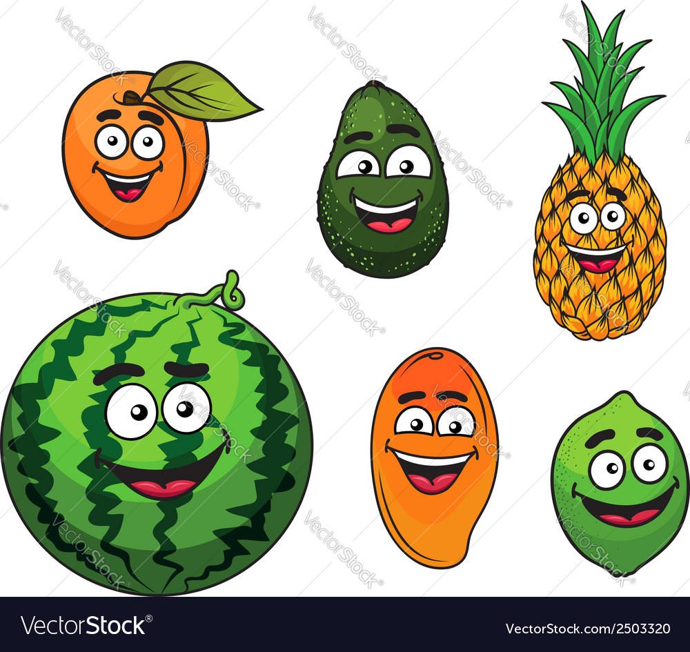 Fresh tropical fruits set vector | Price: 1 Credit (USD $1)