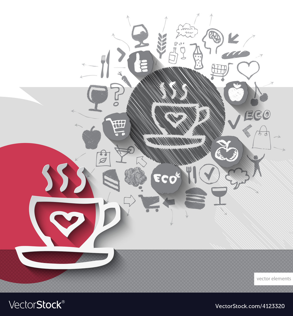 Hand drawn coffee icons with food icons background vector   Price: 1 Credit (USD $1)