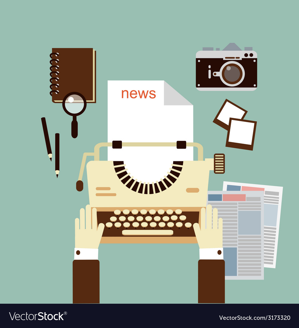 Journalist publishes news on a typewriter vector | Price: 1 Credit (USD $1)