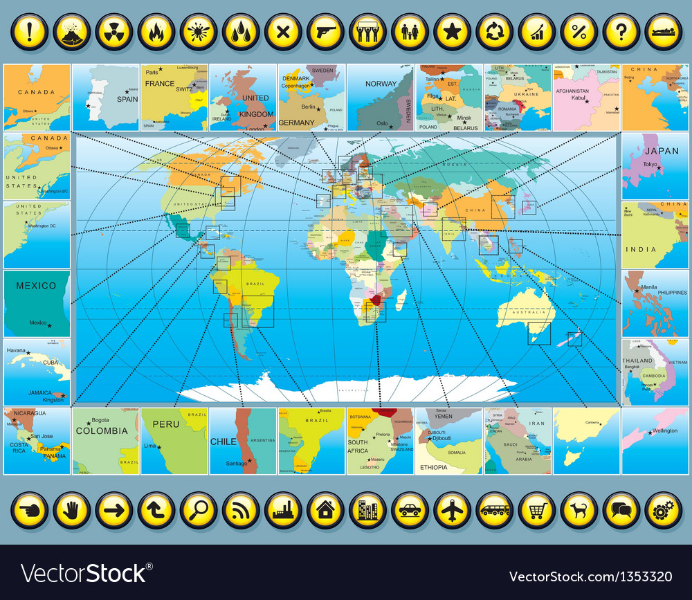 Map elements with world map vector | Price: 1 Credit (USD $1)