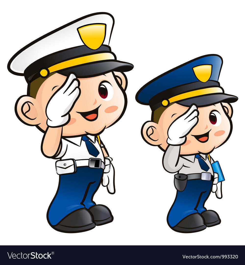 Salute to the police character vector | Price: 3 Credit (USD $3)
