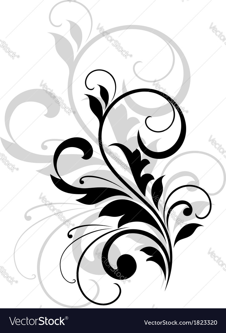 Scrolling foliate design element vector | Price: 1 Credit (USD $1)