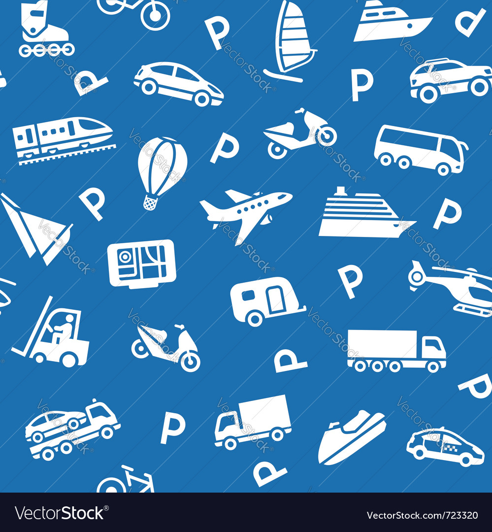 Seamless background white transport icons vector | Price: 1 Credit (USD $1)