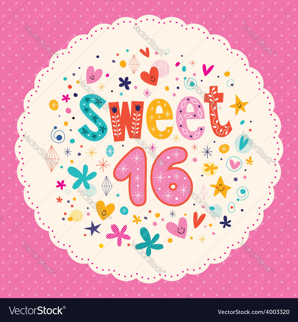 Sweet sixteen card 2 vector | Price: 1 Credit (USD $1)