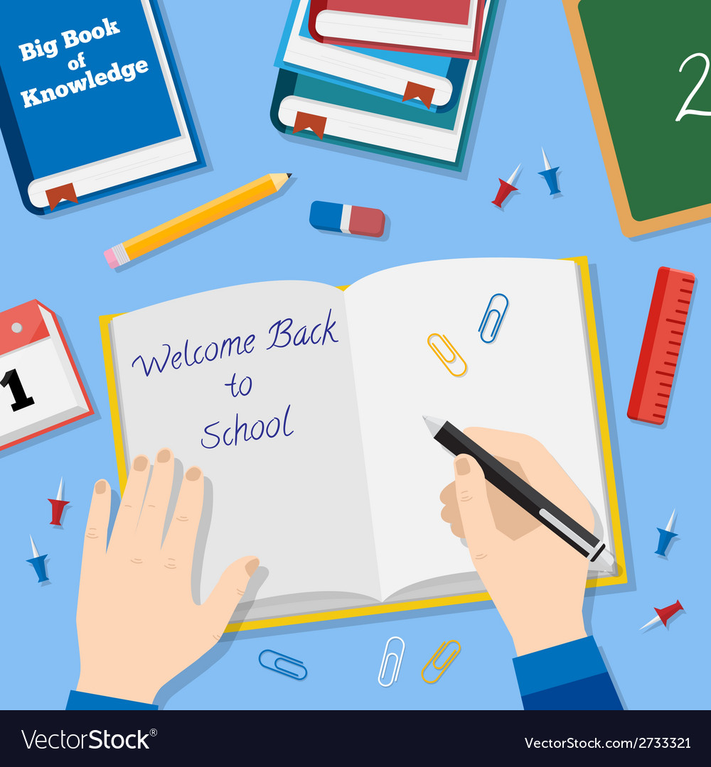 Back to school flat style background with books vector   Price: 1 Credit (USD $1)