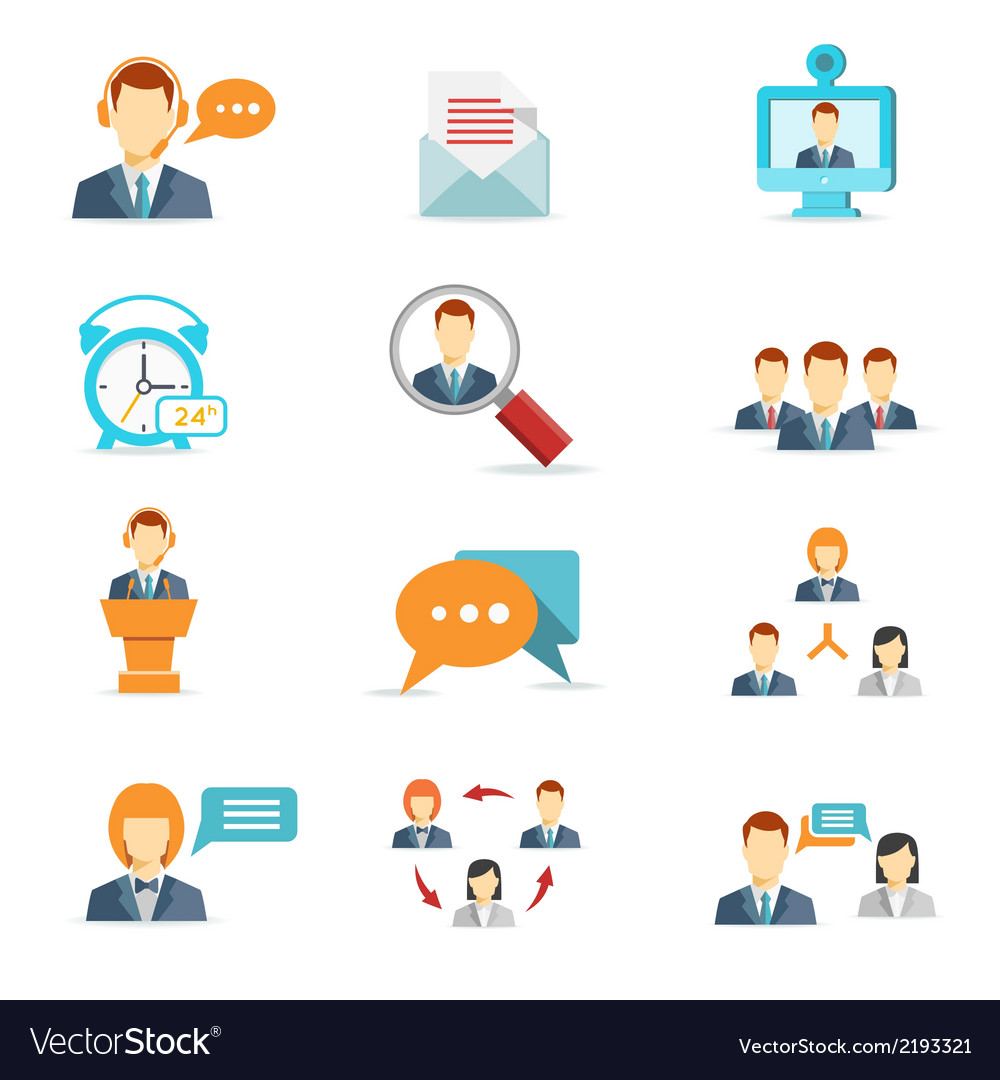 Business communication and web conference icons vector | Price: 1 Credit (USD $1)