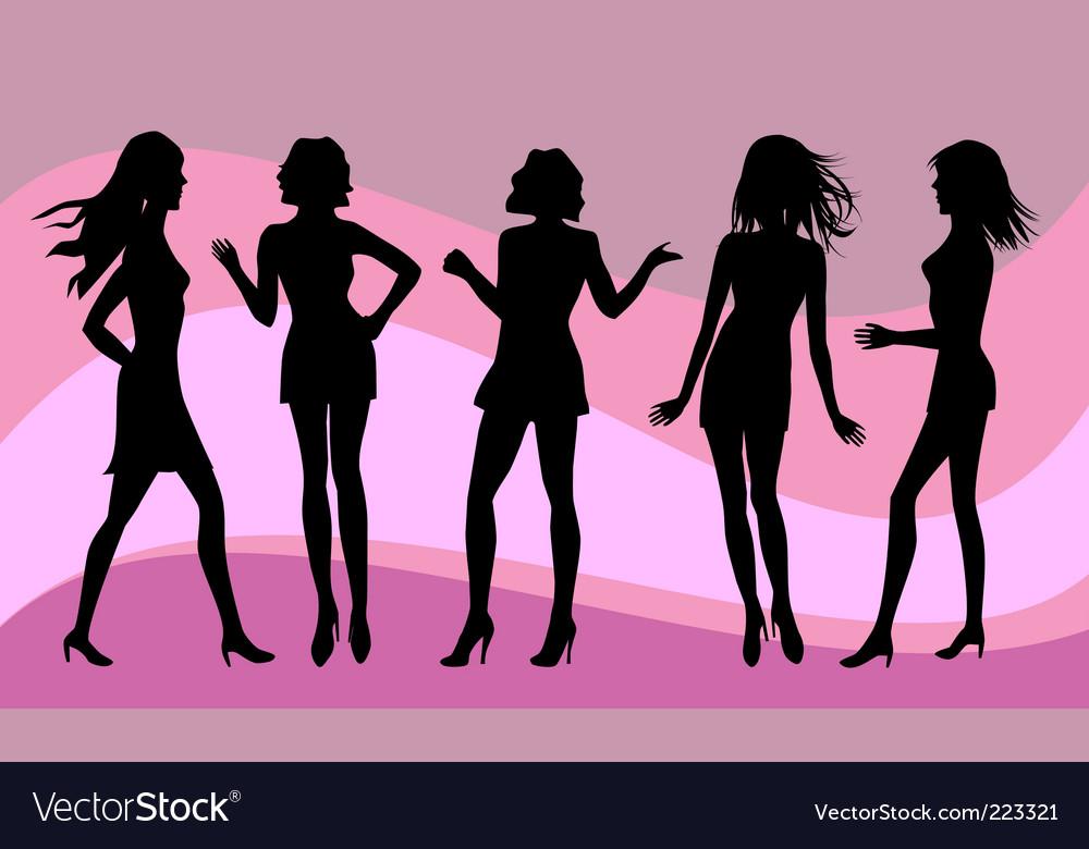 Female silhouettes vector | Price: 1 Credit (USD $1)