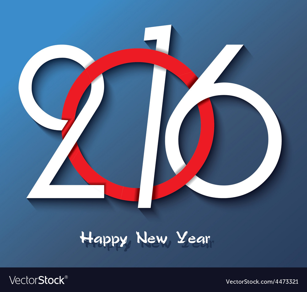 Happy new year 2016 creative greeting card design vector | Price: 1 Credit (USD $1)