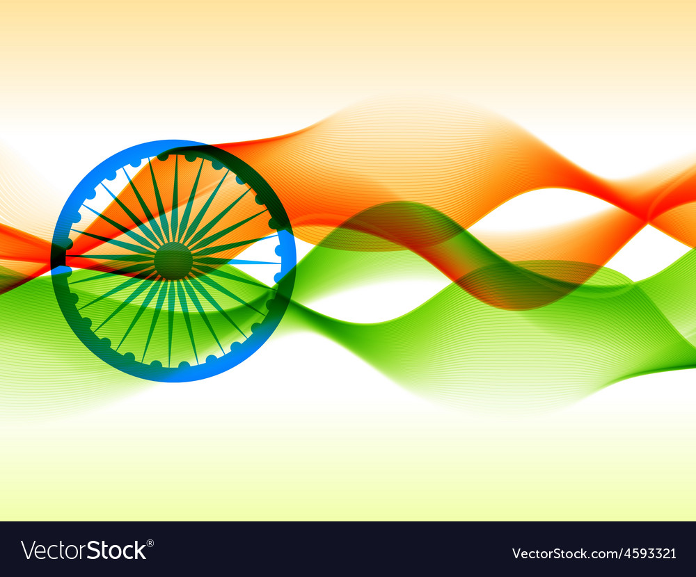 Indian flag design made with in wave style vector | Price: 1 Credit (USD $1)