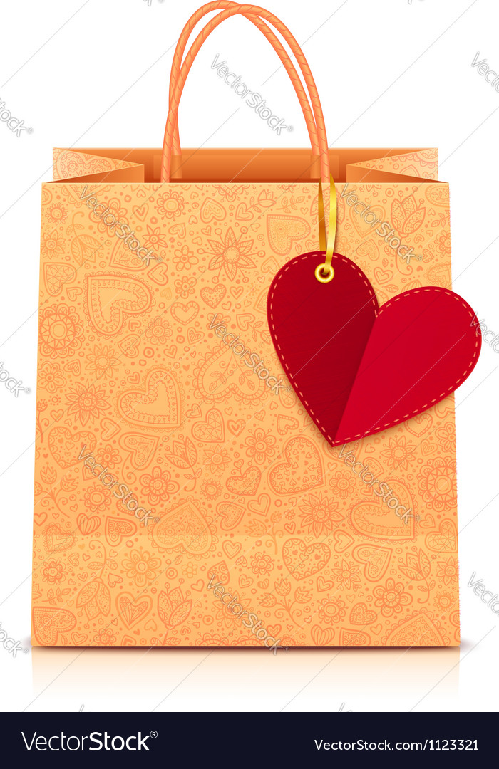 Ornate paper shopping bag with heart label vector | Price: 1 Credit (USD $1)