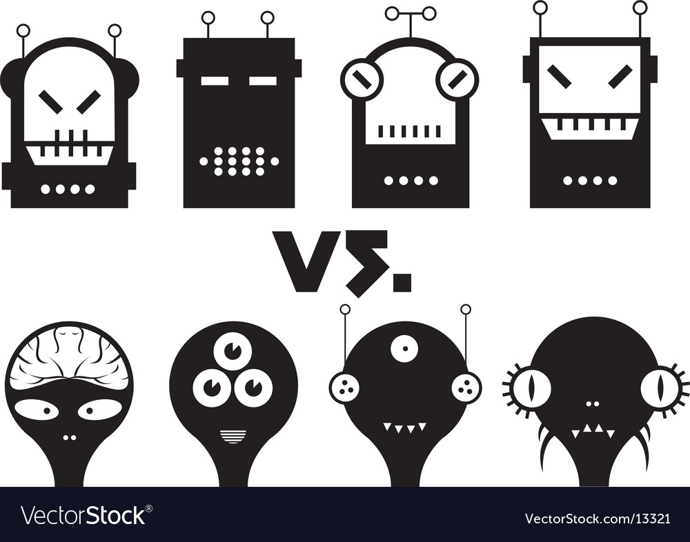 Robot vs alien vector | Price: 1 Credit (USD $1)